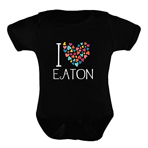 Idakoos I Love Eaton Colorful Hearts - Last Names - Baby Bodysuit