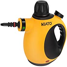 Kiato Handheld Steam Cleaner, Handheld Pressurized Steam Cleaner with 10-Piece Accessory Set, Handheld Steamer for Cleaning Stain for Home use -Yellow