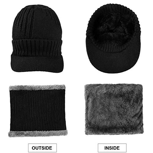 VBG VBIGER 2-Pieces Winter Knit Hat Scarf Set Warm Thick Knit Caps with Visor for Men Women by VBG VBIGER (Image #3)