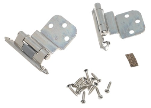 3/8in (10 mm) Inset Self-Closing, Face Mount Polished Chrome Hinge - 2 Pack