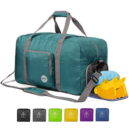 "WANDF 24"" Foldable Duffle Bag 60L for Travel Gym Sports Lightweight Luggage Duffel 24 inches (60 Liter), Dark Green 24"""
