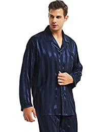 2915cfacd4 Mens Satin Long Button-Down Pajamas Set S M L XL 2XL 3XL 4XL