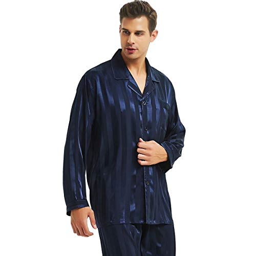 Mens Silk Satin Pajamas Set Sleepwear Loungewear Navy Blue 3XL