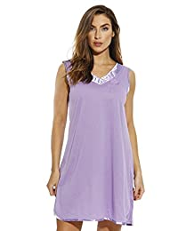 Dreamcrest Double V Nightgown with Floral Embroidery & Satin Trim