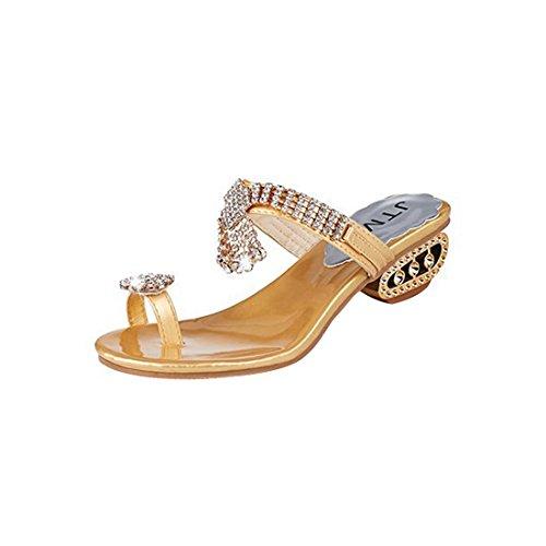 Jeune Strass Strass Fille Talon D'Été Femmes Taille Mules Sandales Soirée Grande golden Toe Élégant Pour Supshark Clip Confortable Chaussons Moyen wR1Owq