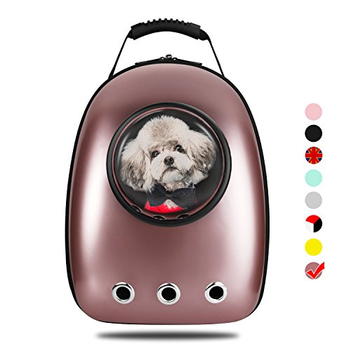 Gold Pet Carrier - AntTech Breathable Pet Travel Backpack Space Capsule Carrier Bag Hiking Bubble Backpack Cat & Dog Puppy (Rose Gold)