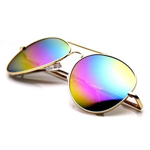 zeroUV - Classic Metal Tear Drop Rainbow Mirrored Lens Aviator Sunglasses (Gold - Rainbow Aviators