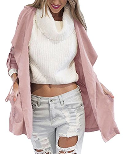 Chaqueta Larga Abrigo Con Para Outerwear Mujer Coat Trench Baymate Pink Capucha Otoño Jacket Manga Yxw5qCfC