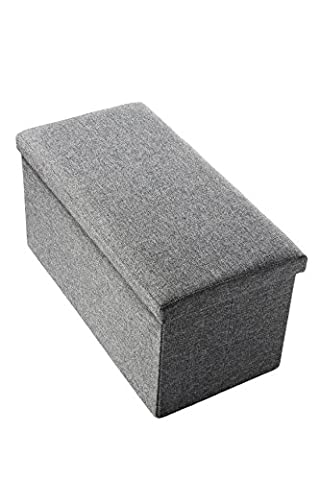 Linen Rectangular Folding Storage Ottoman with Wooden Frames, Grey, 30 x 15 x 15 Inches