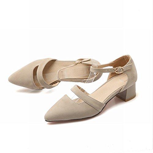 Mee Shoes Damen chunky heels ankle strap Schnalle Pumps Beige
