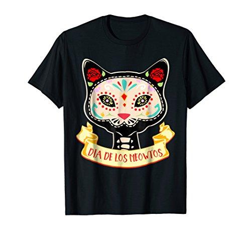 Dia De Los Muertos Cat Sugar Skull Halloween Costume T-shirt -