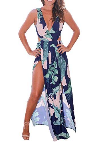 Verano De Mujer Cuello V Profundo Playa Cover Split Maxi Vestido De Fiesta Green