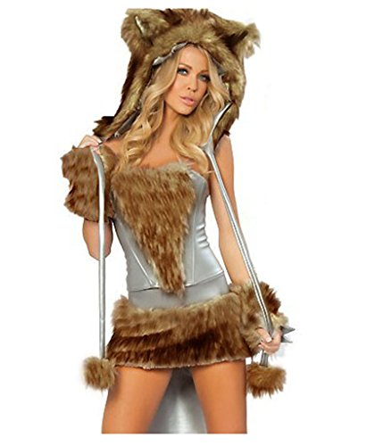 HPLY Womens Halloween Cosplay Sexy Hairy Timber Wolf Animal Costume (Sexy Wolf Woman Costume)