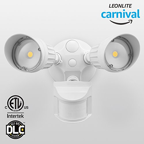 LEONLITE 2 Head LED Outdoor Security Floodlight Motion Sensor, Newly Designed 3 Lighting Modes, ETL & DLC Listed, 1800lm, Waterproof IP65 for Garage, Porch, 5-Year Warranty, 3000K Warm White, White