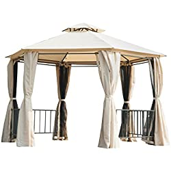 Outsunny Outdoor Two-Tiered Hexagonal Garden Gazebo Canopy with Removable Mesh Curtains - Beige