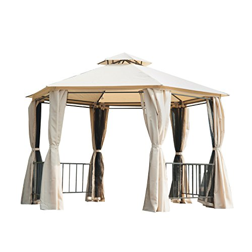 Outsunny 2 Tiered Outdoor Hexagon Garden Gazebo with Removable Curtains – Beige For Sale