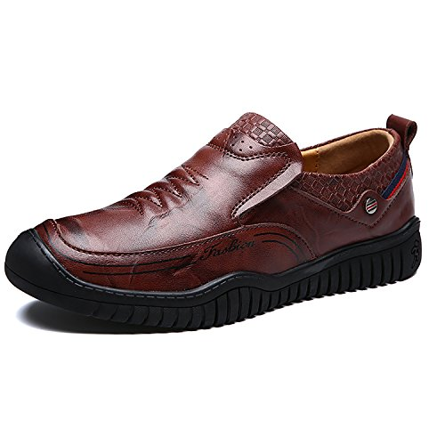 Rainstar Mens Casual Low Top Scarpe Cowskin Oxford Scarpe Da Sera Classico Mocassino Marrone Rossiccio-slip On