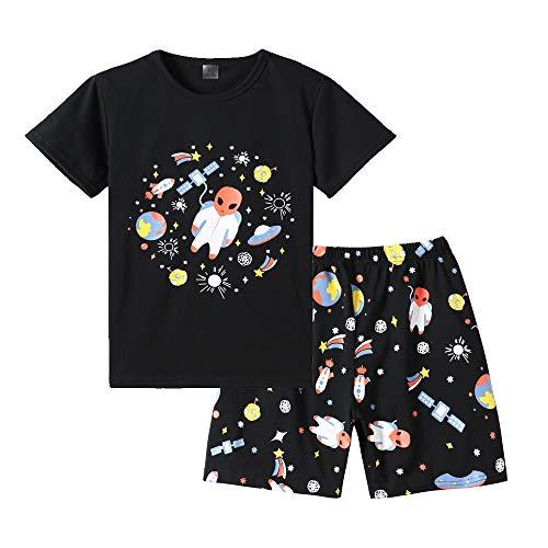 MyFav Big Boys Pajamas 2 Piece Short PJS Cute Cartoon Shark Sleepwear 6-14 Years Black -