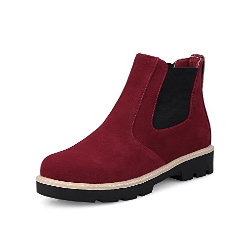 Allhqfashion Femmes Low-top Solide Pull-on Round Fermé Bout Fermé Talon Bas Bottes Rouge