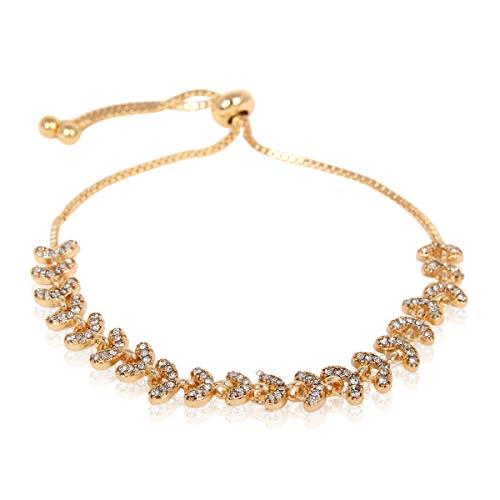 RIAH FASHION Sparkly Crystal Rhinestone Cubic Zirconia Bridal Bracelet - Pave Wedding Statement Cuff Bangle Adjustable Wrist Slide Tennis Bolo/Pearl Wrap Stack (Laurel Leaf - Gold)