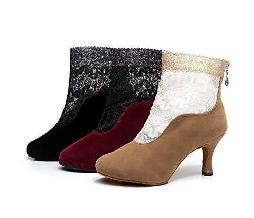 TQJ7101 9 Wedding 5 Zipper Suede Dance Lace Tango Women's Latin Brown Minitoo US Ankle M Boots Ballroom Shoes Evening wd4q1HxZw