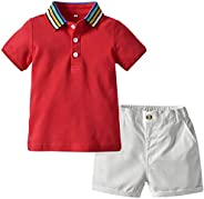 amropi Little Boys Short Clothes Set Striped Short Sleeve Shirts and Shorts Set Summer Outfits Age 0-6 Years