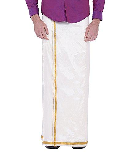 Dhoti Kurta (Sethukrishna Men's Art Silk Readymade Stick-on Dhoti with Pocket Prime Exclusive)