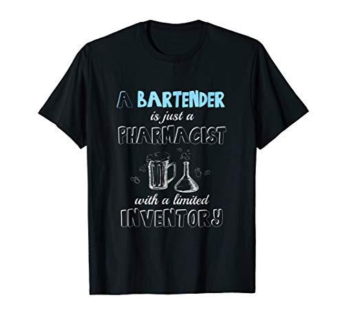 Bartender Pharmacist With Beer Mug & Flask Barista's T Shirt