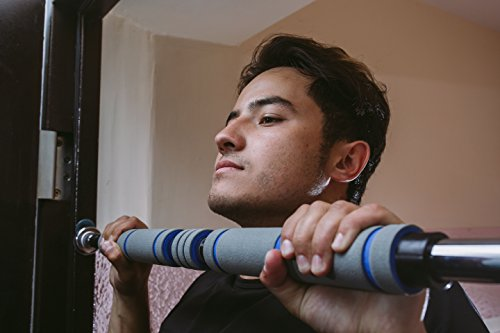 Doorway Pull Up & Chin Up Bar – Durable Construction For Maximum Safety – Ergonomic, Comfortable, Long, Soft Foam Handles – Adjustable Design – Ideal For Upper Body Strengthening Exercising and Home gym