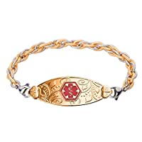 Divoti Custom Engraved PVD Gold Lovely Filigree Medical Alert Bracelet -Inter-Mesh Gold/Silver-TP Red