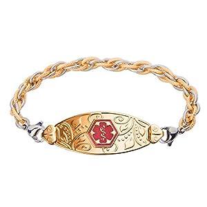 Divoti Custom Engraved PVD Gold Lovely Filigree Medical Alert Bracelet -Inter-Mesh Gold/Silver-TP Red