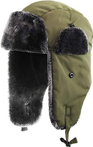KBW-629 OLV Solid Soft Fur Trapper Winter Hat