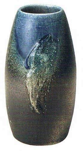 (Shigaraki Pottery Japan Flower Vase Kado Ikebana,Brown and Blue Glaze)