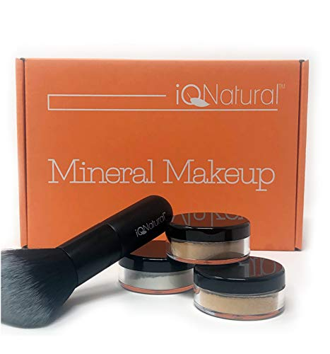 iQ Natural Mineral Makeup Starter Kit – Powder Brush, 2 Mineral Foundation Shades, Setting Veil, for Flawless Bare Looking Skin, 4 Piece Full Size Set ()