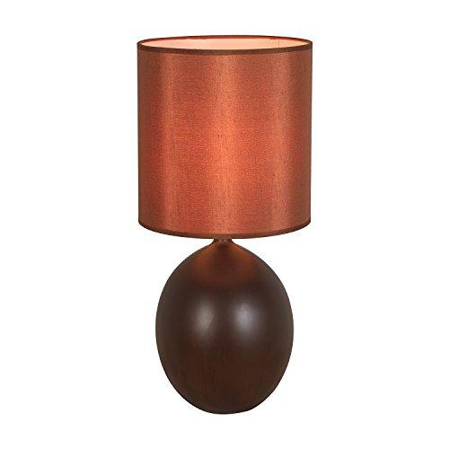 HOMPEN Elegant Design Ceramic Table Lamp, Jar-Shaped Base Bedside Lamp for Living Room End Table, Bedroom Nightstand, Small Office Desk-Brown ()