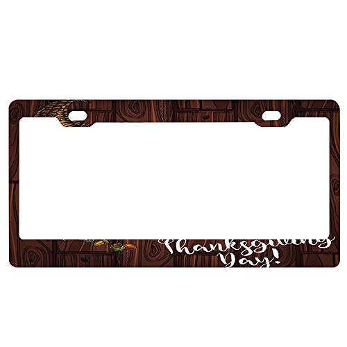 ASUIframeNJK Holiday Theme Roasted Turkey and Pie or Bread Pumpkin or Corn and Fruit Harvest License Plate Aluminum License Plate Cover Heavy Duty Car Tag (12
