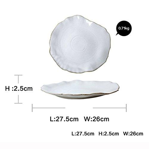 He Xiang Ya Shop Ceramic fruit salad dish plate irregular dessert plate flat plate restaurant steak dish pasta dish plate by He Xiang Ya Shop (Image #6)