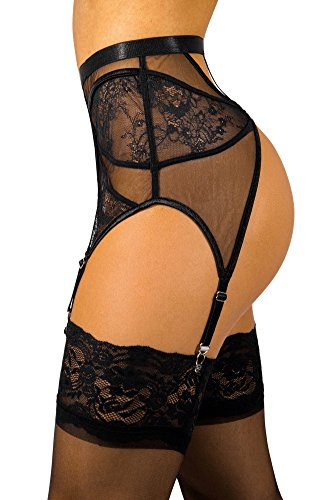 sofsy Lace Garter Belt/Suspender Belt with Straps and Clips for Stockings (Garter Belt Sold Separately from Stockings) Black 3 - Medium
