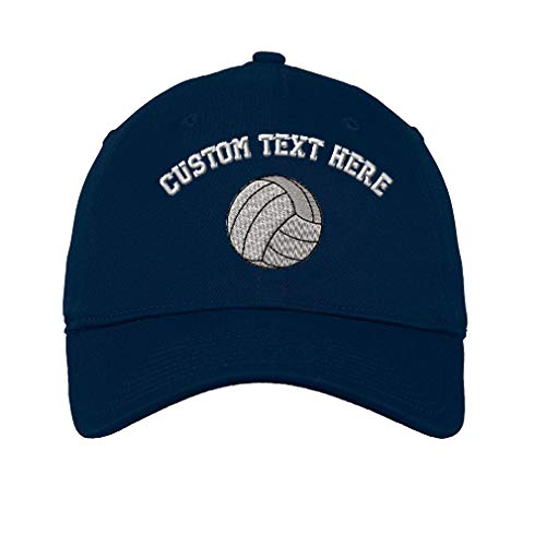 Custom Text Embroidered Volleyball Ball Unisex Adult Flat Solid Buckle Cotton 6 Panel Unstructured Baseball Hat Adjustable Cap - Navy, One Size ()