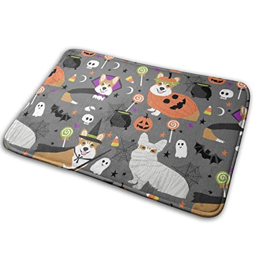 YANAIX Corgi Halloween Costumes Mummy Vampire Ghost Just Dog Fabric Grey_824 Doormats Bath Rugs Outdoor/Indoor Carpet Bathroom Decor Rug 16