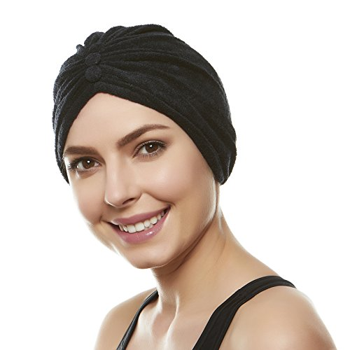 - Beemo Soft Terry Cloth Turban Head Cover- Black
