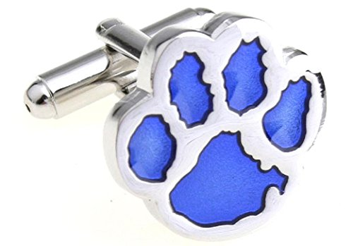 Blue Print Cufflinks - MRCUFF Cub Paw Print Bear Tiger Dog Blue Pair Cufflinks in a Presentation Gift Box & Polishing Cloth