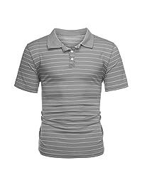 Naladoo Men's Stripe Short Sleeve T-Shirt Top Fashion Cotton Button Lapel Blouse