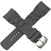 Swiss Legend 29MM Gray Silicone Rubber Watch Strap Stainless Silver Buckle fits 47mm Commander Watch