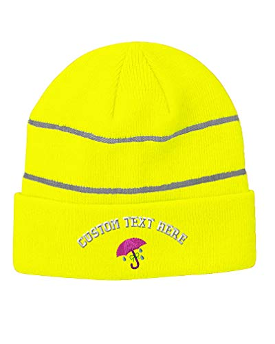 Custom Text Embroidered Umbrella Unisex Adult Acrylic Reflective Stripes Beanie Skully Hat - Neon Yellow, One Size