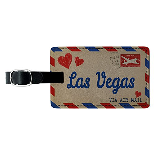 Graphics & More Air Mail Postcard Love for Las Vegas Leather Luggage Id Tag Suitcase Carry-on, Black