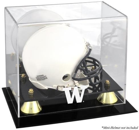 - Sports Memorabilia Washington Huskies Golden Classic Logo Mini Helmet Display Case - College Mini Helmet Free Standing Display Cases