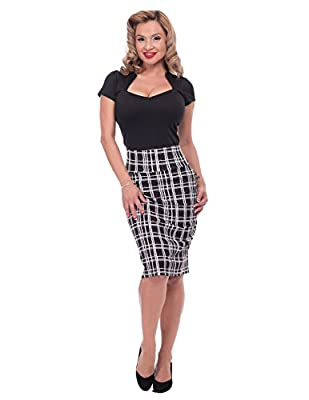 Steady Plaid Wiggle Skirt In Black/White