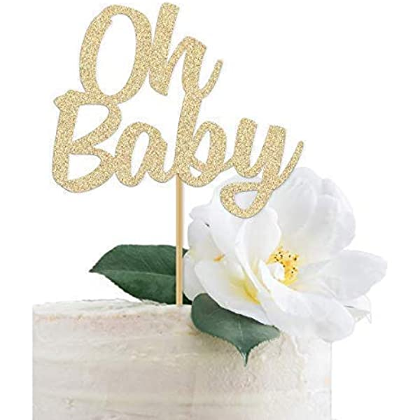 PartyDeco Holz Cake Topper Oh Baby