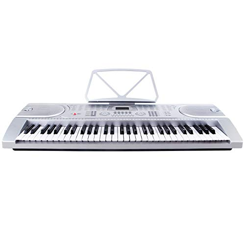 61 Key Music Electronic Keyboard Digital Piano Organ with Microphone Silver Discount for Business Customers and B2B by Smart Choice America
